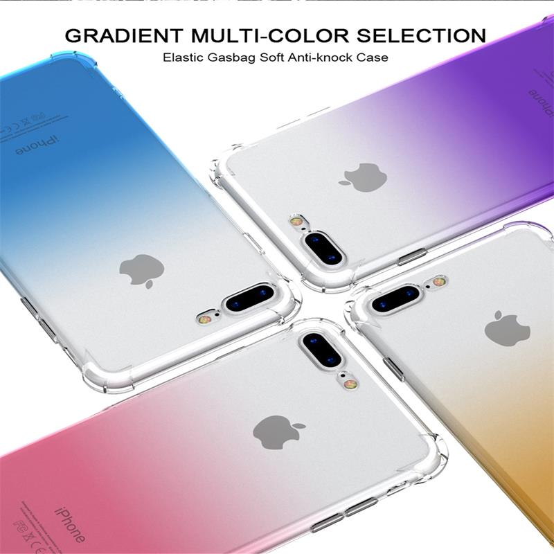 For iPhone X 10 Mobile Phone Parts Fashion Gradient Color Transparen Case For Apple Cover For i Phone 10 X Clear Shell For Phone
