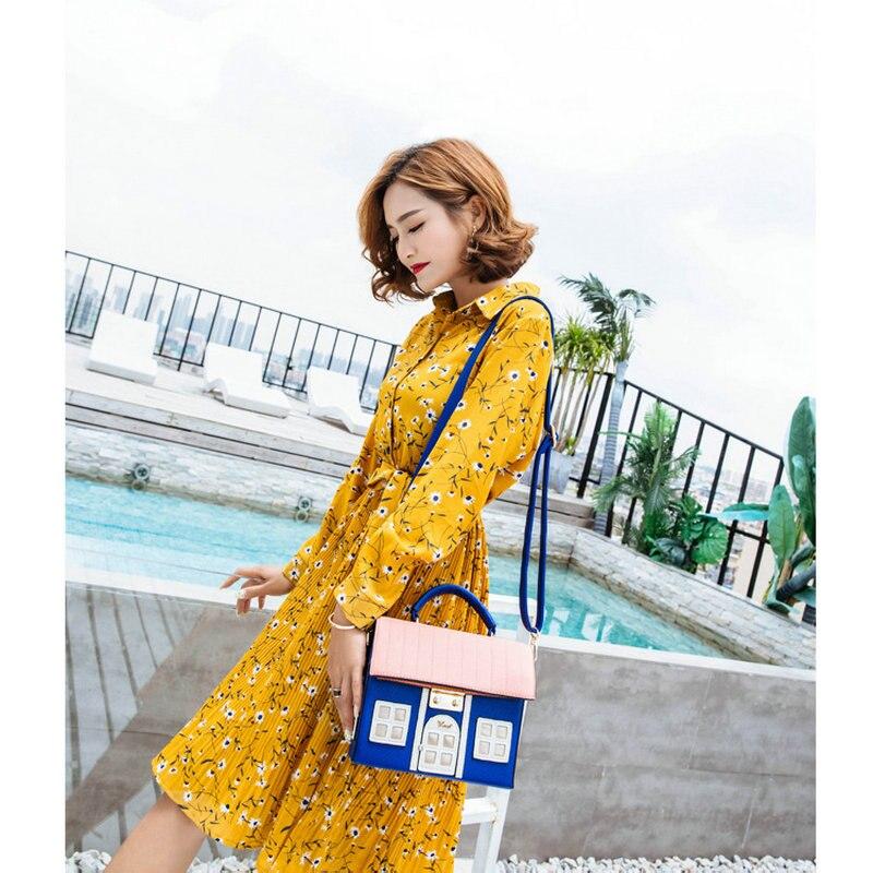 Bracci Mew PU fun sac à bandoulière unique en forme de maison sac à main pour femme lolita nouveauté sac de messager à fermeture créative - 2