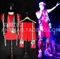 ГОРЯЧАЯ 2016 Новый Мужчины певец DJ права Чжи-long GD хип-поп стиль красная ткань вставить ремень жилет костюмы ночной клуб одежда жилет наборы