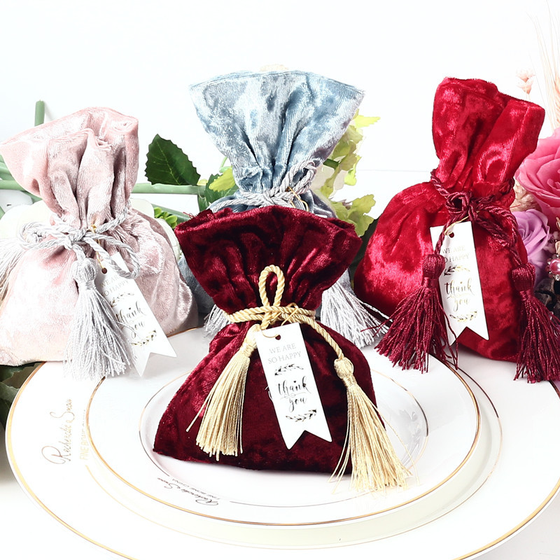 New Velvet Gift Bag With THANKS Card & Fringed Wedding Favors And Gift Box Candy Boxes For Wedding Baby Shower Party Supplies