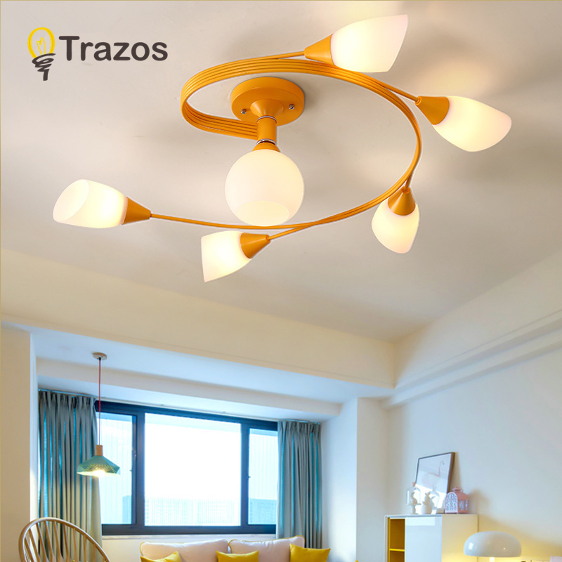 Modern Colour chandelier nordic living room pendant lamp bedroom fixtures stair lighting novelty illumination loft hanging light nordic novelty modern led wood chandelie living room pendant lamp bedroom stair lighting loft hanging lights fixture home light