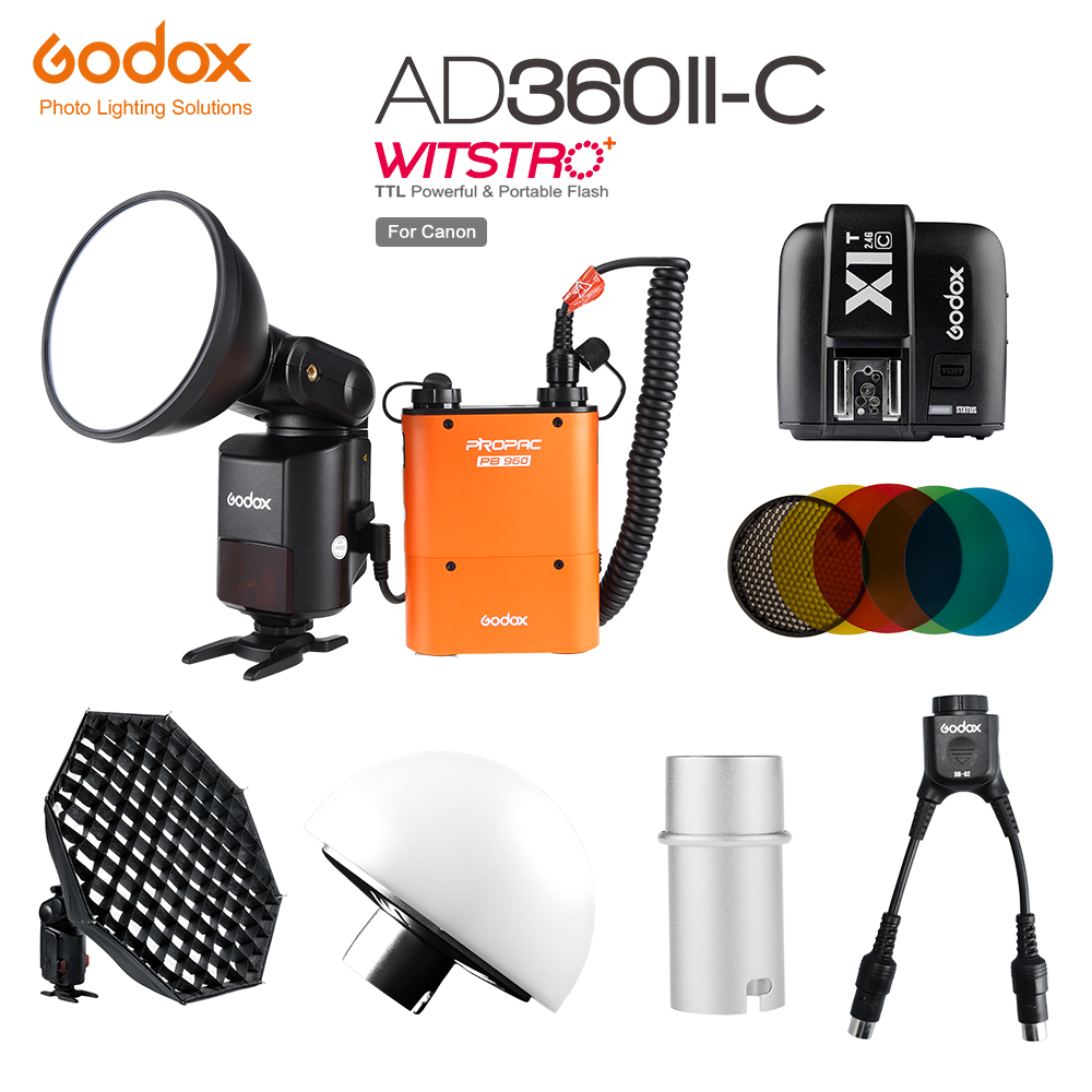 Godox AD 360 MARK II AD360II C TTL Powerful Speedlite Flash PB960 Power Pack Orange X1T