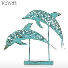 Tooarts Metal Sculpture Two Blue Dolphins Iron Handmade Statue Design Statue Ornament Marine Life Retro Effect Home Decoration