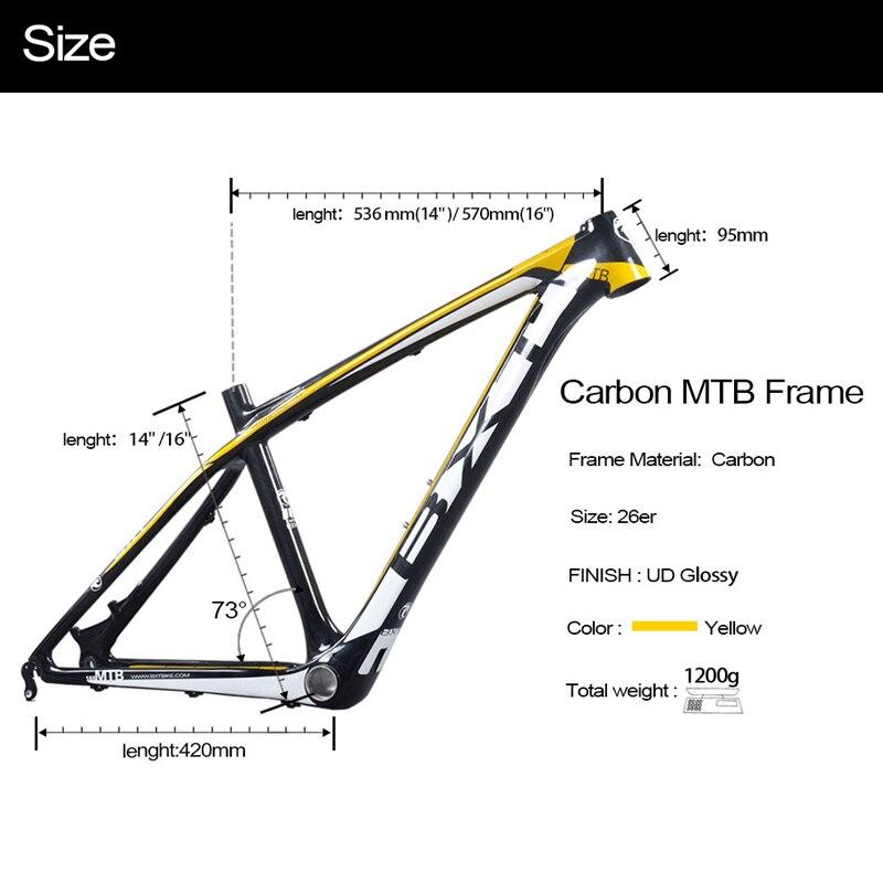 2017 bxt marcos chinos del carbón 14/16 pulgadas 26 montaña bici del ...
