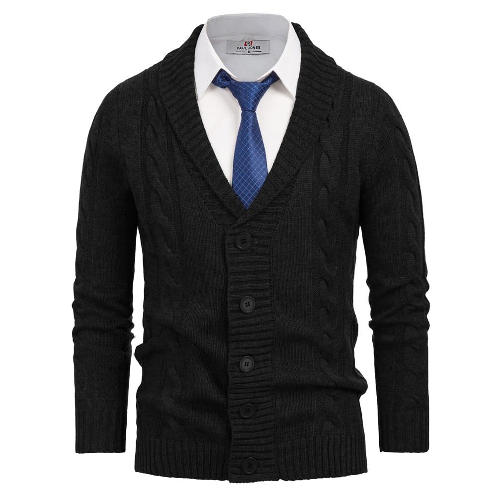 Fall Winter Coat Men Tops Retro Slim Shawl Collar Cardigan Sweatercoat Warm Solid Knitwear Long Sleeve Stylish Cable Pattern Top