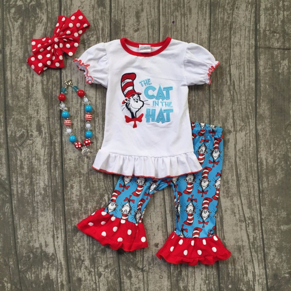 5 4T 8 Polka Dot Girls Shirt top dress shorts pants 18m 3T 7 2T Boutique Cat in the Hat Outfit 12m 6