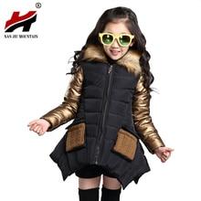 2017 Extérieur Coréen Enfants Automne Et Hiver Chandail Manteau, mignon Enfant Enfants Épaississement Col De Fourrure Coat2 Couleur Manteau