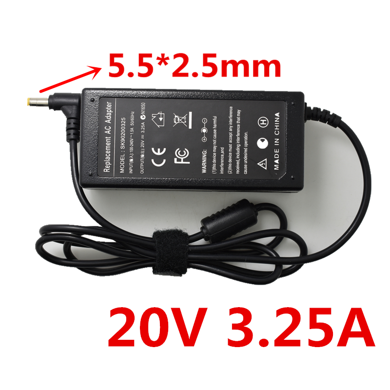 HSW <font><b>20V</b></font> 3.25A 5.5*2.5 Laptop <font><b>Ac</b></font> <font><b>Adapter</b></font> Charger for Lenovo IdeaPad G575 G580 G770 G780 N580 N581 N585 N586 P500 P580 P585 image