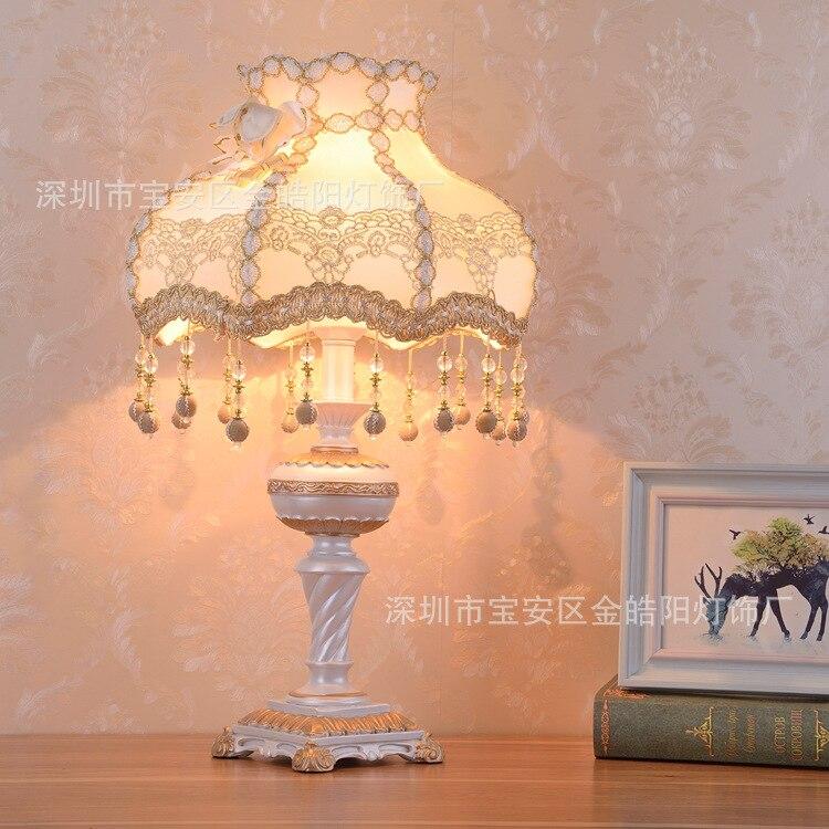 TUDA LED Table Lamp European Fabric Table Lamp Bedroom Bedside Living Room Study Retro Resin Table Lamp E27 110V 220V|LED Table Lamps| |  - title=