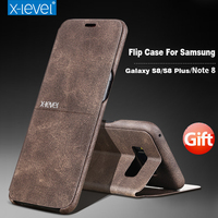 X Level Note 8 Flip Case For Samsung Galaxy S8 S8 Plus Leather Full Protection Cell