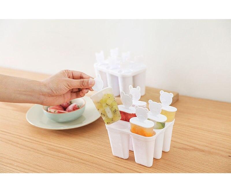 Мода 6 ячеек милый медведь Ручка Плесень лоток Сковорода Кухня замороженный кубик льда Форма для мороженого самодельный Лед Крем инструменты для приготовления пищи