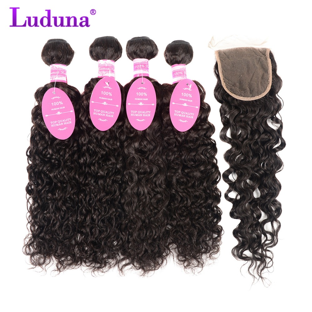 Luduna Malaysian Water Wave Bundles With Closure Human Hair Bundles With Closure Remy Hair 3 Bundles With Lace Closure Free Part