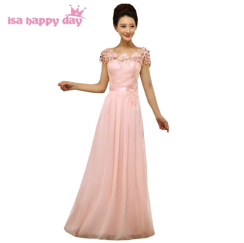 Rosa bodenlange kleid top chiffon frauen lange formale brautjungfern ...