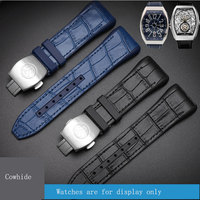 TKN Replacement silicone & leather watchbands special interface strap black blue male wristband deployment buckle for V45