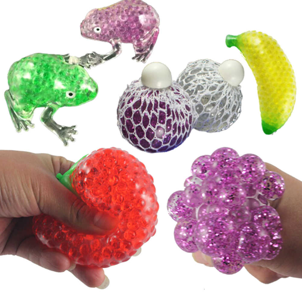 1PCS Novelty Animal Fruit Ball Hand Wrist Exercise Stress For Children Adult Squeeze Ball Release Pressure Stress Toys