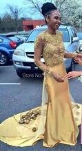 Charming Gold Mermaid Long Sleeves Brautkleider mit Appliques Hand Machen Blumen 2017 Lange Zurück Gericht Zug Abendkleider