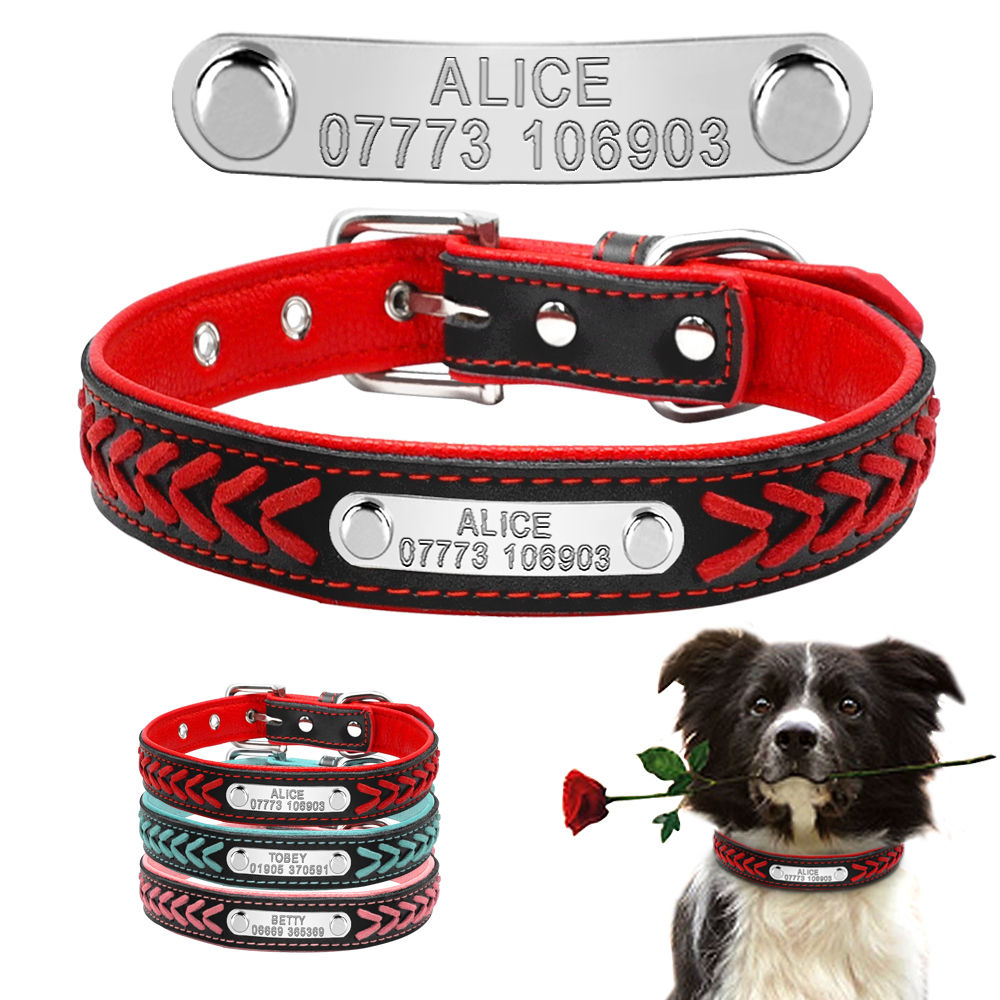 Custom Leather Dog Collar Personalized Engraved Puppy Cat Dog Tag Collar With Nameplate For Small Medium Large Dogs Beagle XS-XL