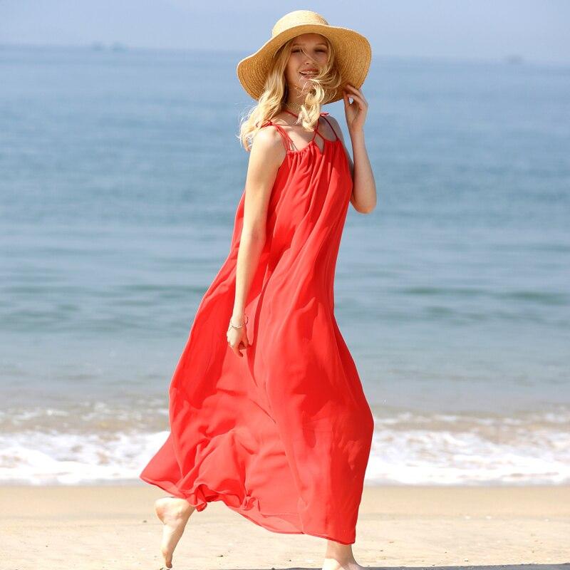 Di 2018 Amii Asimmetrico Abiti Della Minimalista Femminili Allentata black Maxi Donne Size Beige Vestito Cinghia Beach Spaghetti Da Estate red Dress Plus xqBzqw