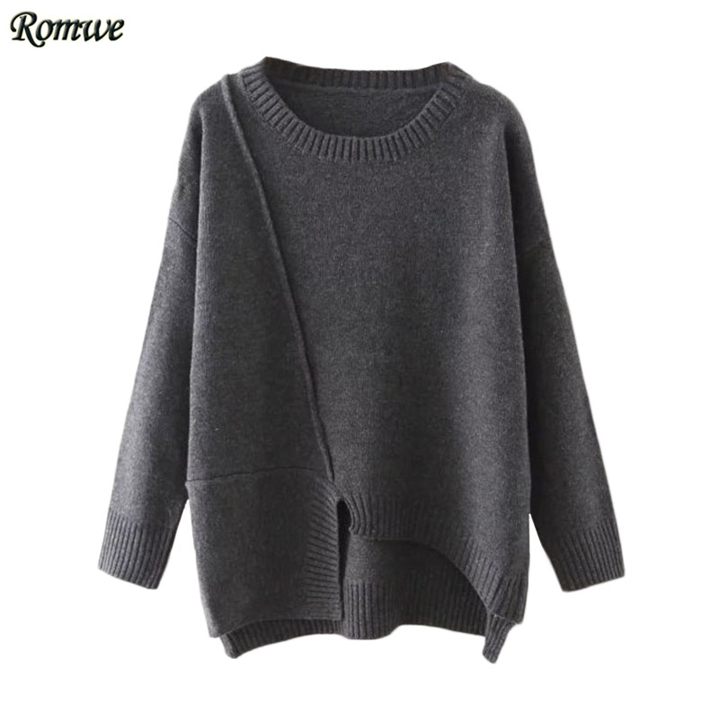 ROMWE Fall Clothes Women <font><b>Sweater</b></font> Women Korean Style <font><b>Long</b></font> <font><b>Sleeve</b></font> <font><b>Round</b></font> <font><b>Neck</b></font> <font><b>Ribbed</b></font> Trim Asymmetrical <font><b>Pullover</b></font> <font><b>Sweater</b></font>