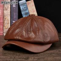 XdanqinX Genuine Leather Hat Autumn Men's Cowhide Leather Beret Elegant Fashion Young Student Tongue Cap Snapback Caps For Men