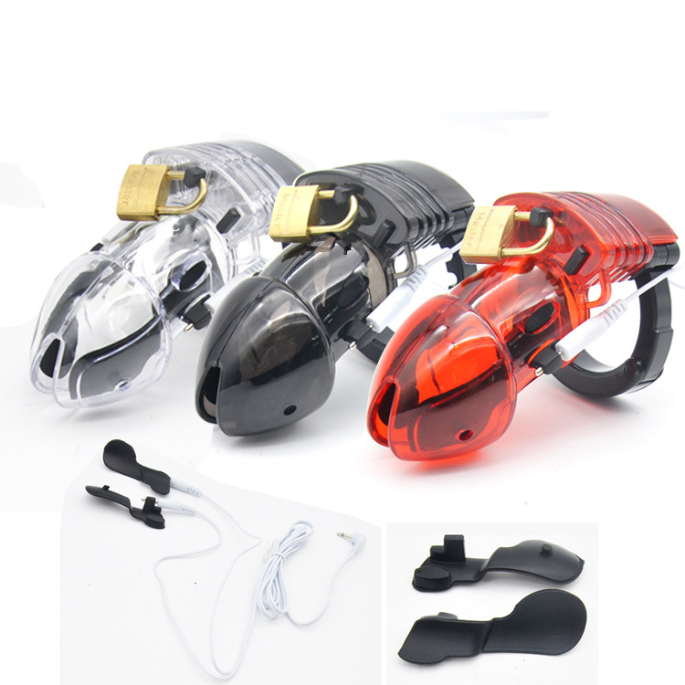 3 Colors Electro Shock Male Chastity Device Cock Rings with Adjustable Cuff Ring Power Box E stim Male Cage Belt CBT Fetish in Penis Rings from Beauty Health