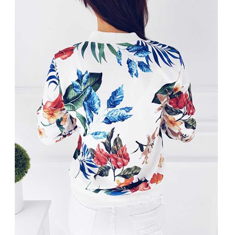 Женское пальто, модное женское Ретро цветочное пальто на молнии, куртка-бомбер, повседневное пальто, осенняя верхняя одежда, женская одежда