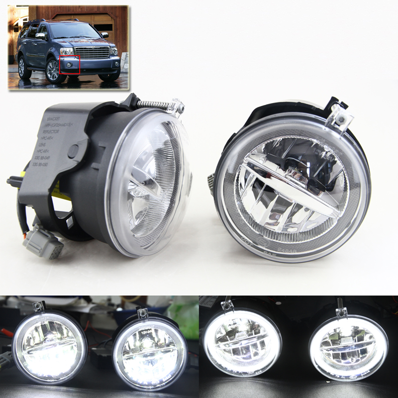 New 2-in-1 Led Fog Lights Assembly Kit W/ Xenon White DRL Angel Eyes Halo Rings For Chrysler Aspen For Dodge Dakota For Jeep автоинструменты new design autocom cdp 2014 2 3in1 led ds150