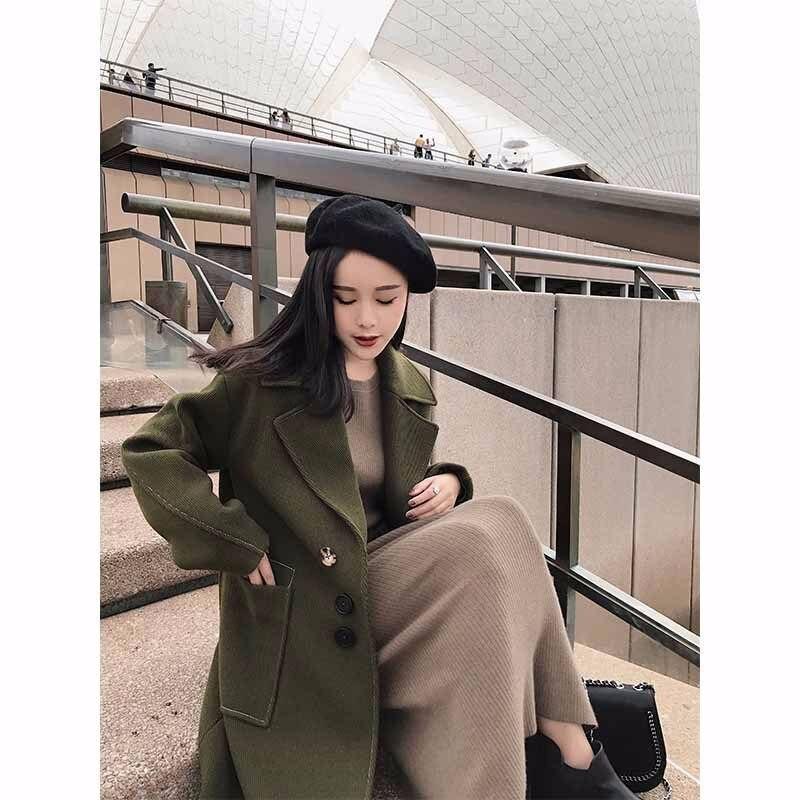 Élégant Mince 2018 Manteau Grand Army Green Hiver V caramel Survêtement Mélanges Avec Dy1 Poches Finition Laine Col Femelle Colour Plein Casual Vestes Manches 5Zw6q
