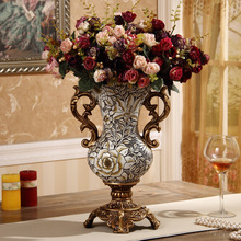 European-style new resin binaural vase home hand-painted Vintage carving antique countertop decorative ornaments