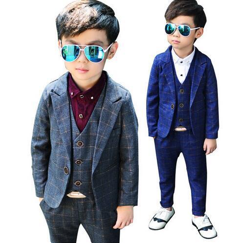 380074554 3 piezas de trajes para niños ropa los traje fiesta cumpleaños Formal  muchachos chaqueta + chaleco Pantalones bodas conjunto
