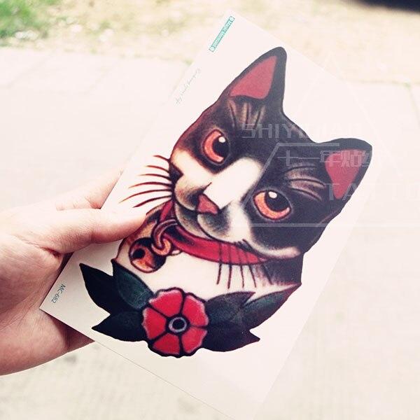 vieille école rétro chat tatoo cool couleur grand motif tatouage