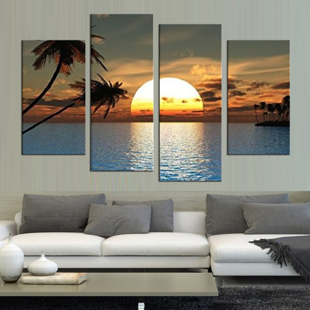 HD Printed Modern Canvas Living Room Pictures 4 Panel
