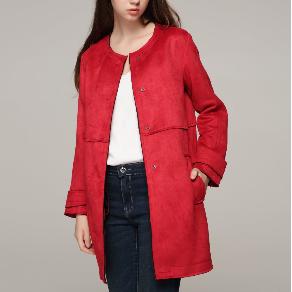 Brand 2019 New Arrial Women Autumn Winter   Suede   Faux   Leather   Jackets Lady Fashion Matte Motorcycle Coat Red Outwear Long Style
