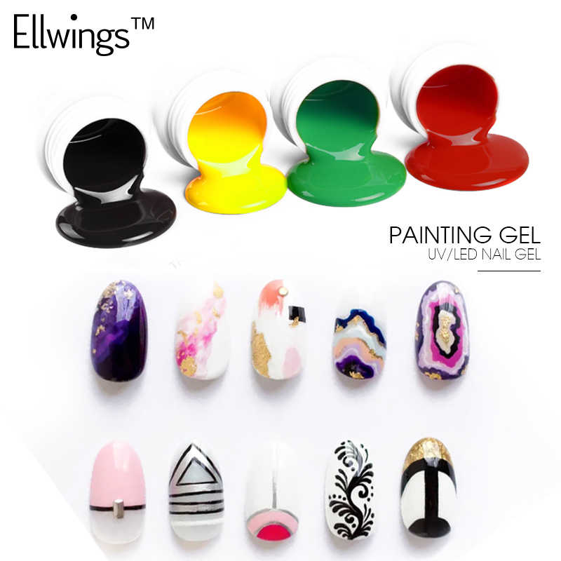 Ellwings 3D Nail Art Design colle paillettes 12 couleurs peinture vernis à ongles vernis Semi Permanent dessin Gel vernis à ongles
