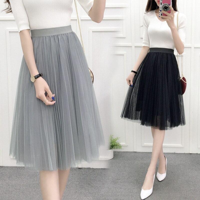 c521cd6fa 2019 nuevas mujeres verano estilo coreano de la cintura alta plisada de  encaje blanco falda de malla ...