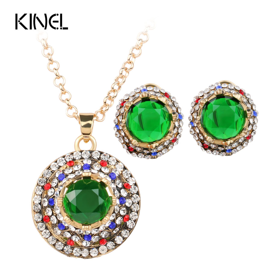 Earrings Necklace Bridal-Jewelry-Sets Crystal Dubai Gold-Color Women for Round Green