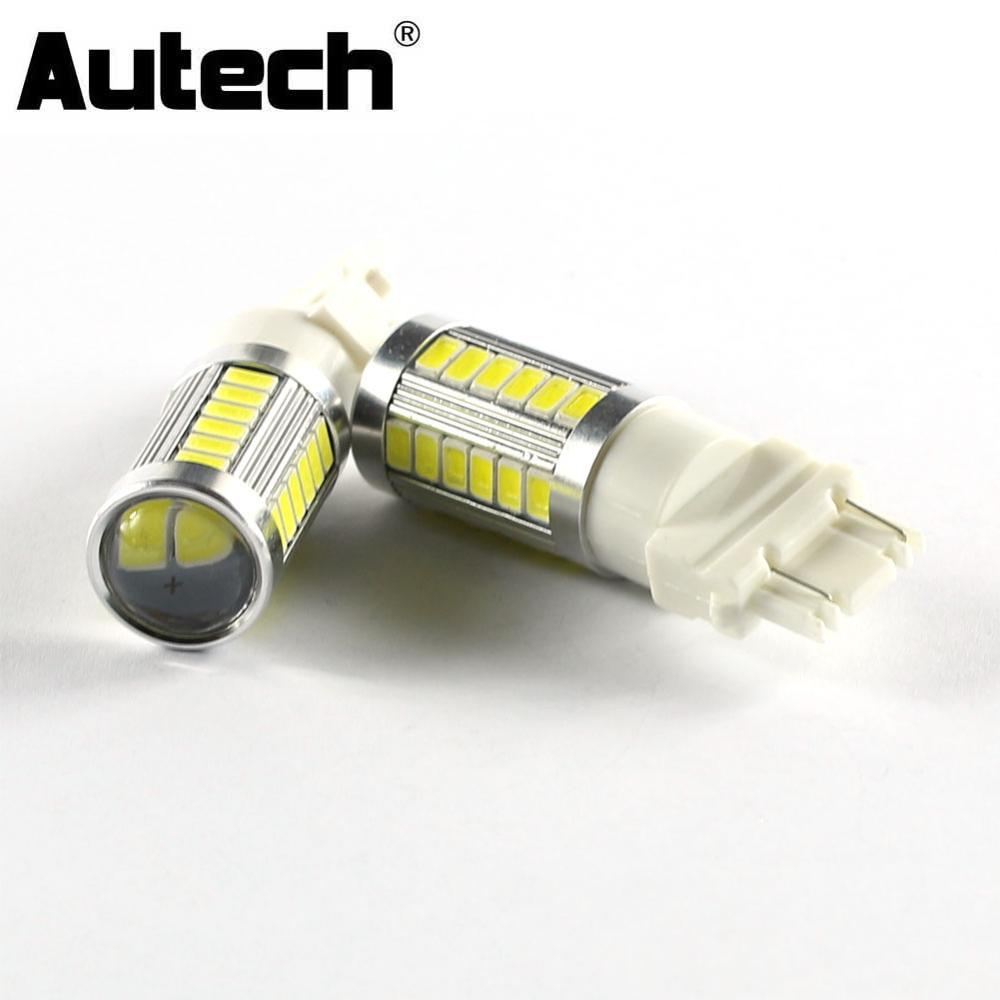 Autech 1 Pair 33-SMD 5630 LED Bulbs Car LED 3157 Fog Lights Bulb DRL Daytime Running Lights Auto Fog Driving Lamp DC12V 1pcs car led dc12v h8 fog lamp bright led light bulbs drl 33 5630 smd with lens xenon white ice blue yellow 2z9