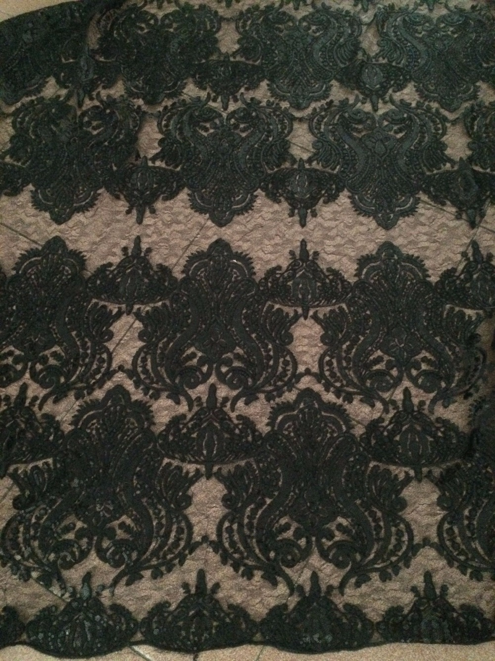 hot design black african embroidered lace fabric Z han51021 with sequins