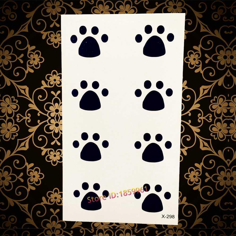 Горячая прекрасный кот собака след для детей флэш временную татуировку Наклейки ayf39 ног печати Дизайн Водонепроницаемый татуировки Для женщин Макияж