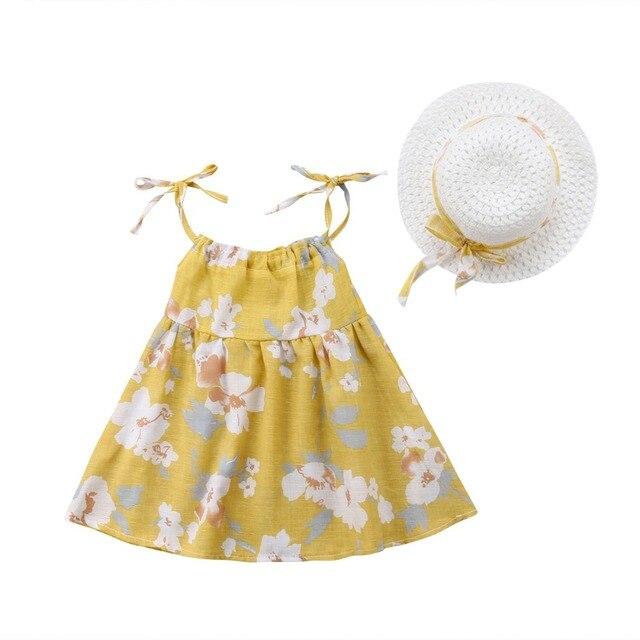 Newborn Toddler Girls Summer Floral Tutu Dress Vestidos Kids Baby Girl Princess Dresses Sundress Hats 2PCS Clothing Set Sunsuit