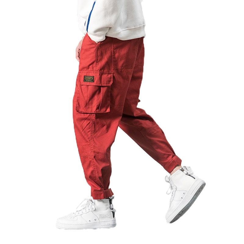 2019 Men Multi-pocket Elastic Waist Design Harem Pant Street Punk Hip Hop Red Casual Trousers Joggers Male Army Cargo Pants 5XL