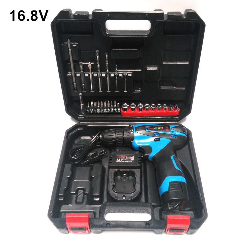 ФОТО 16.8V Electric Drill Cordless Screwdriver Rechargeable Parafusadeira Furadeira One Battery Electric Screwdriver Plastic Case