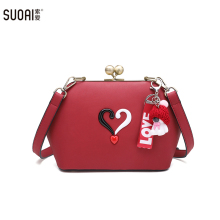 Фотография SUOAI Brand Women Lady Style Frame Shoulder Bags Girls Cute Sweet Handbags Female Dinner Party Clutches