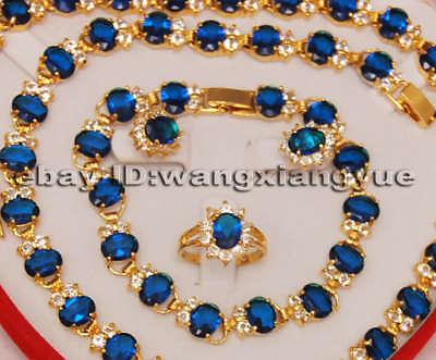 Charme! Bleu Zircon Collier Bracelet Anneau Définit>> 18 K GP Plaqué or De Mariée large montre ailes reine JEWE