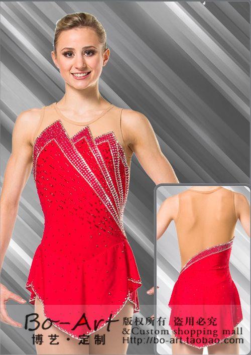 kristály egyéni korcsolyázás ruha lányok forró eladó lányok korcsolyázás ruha piros ingyenes szállítás egyéni műkorcsolya ruha
