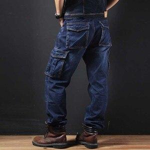 Большие карманные мужские джинсы из денима повседневные военные брюки карго стиль Свободные мешковатые хлопковые брюки плюс размер джогге...