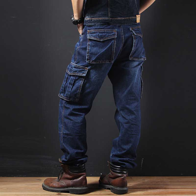 Big Pocket Denim Jeans Men Casual Cargo Pants Military Style Loose Baggy Cotton Trousers Plus Size Joggers Man Clothes