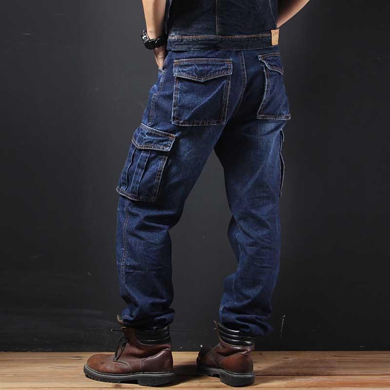 Big Pocket Denim Jeans Men Casual Cargo Pants Military Style Loose Baggy Cotton Trousers Plus Size Joggers Man Clothes