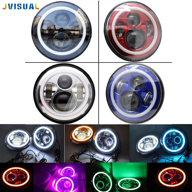 7 pouces LED Halo Phares Kit 7 LED Phare H4 Pour Jeep Phare Avec Angle Eye pour Jeep Harley lada Niva Toyota UAZ 4x4