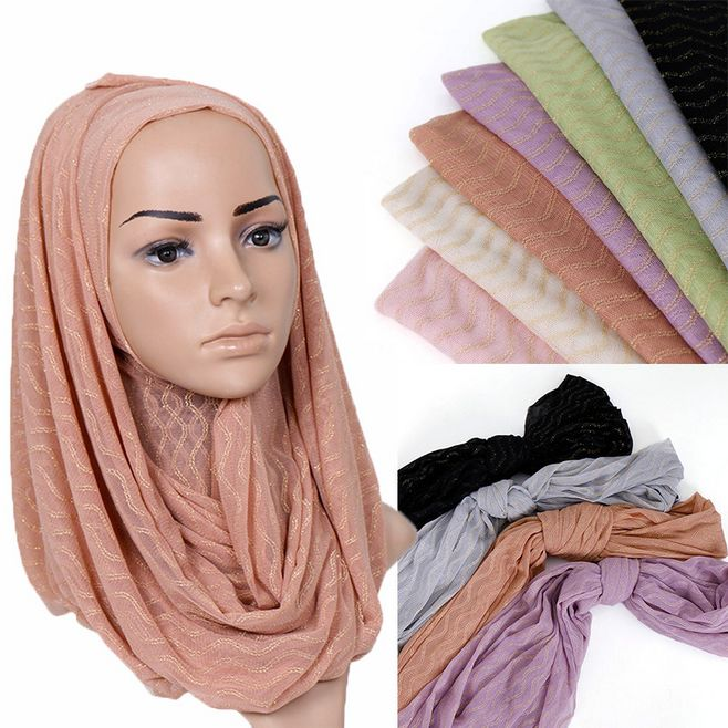 Glitter Muslim Head Scarf Breathable Thin Wrap Islamic Wave Lines Lurex Women Hijabs Turban Long Shawl Shimmer Scarf Headband